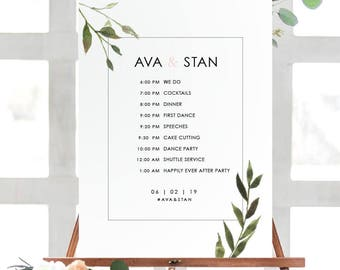 AVA Wedding Schedule Poster | Wedding Order of Events Timeline Poster| Printable Wedding Poster | Printed Poster| Botanical Wedding Poster
