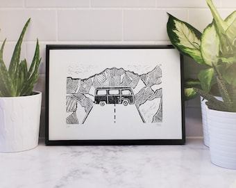 Campervan Amongst the Mountains Handprinted Lino Cut Print, Block Print, Black and White, Travel Art, Road Trip, Volkswagen, Vanlife