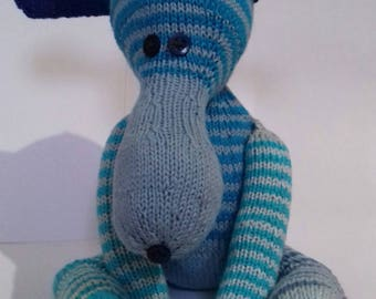 Teddy dog, hand knitted toy