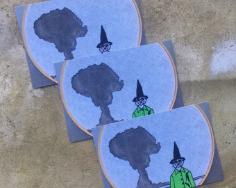 Mood - Postcard featuring hand embroidered and painted witch with a mushroom cloud