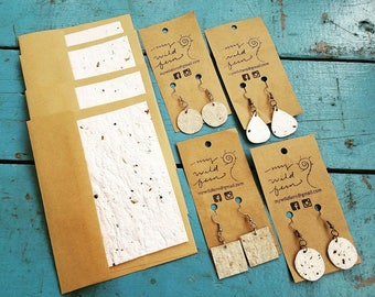 Handmade Recycled Paper Earrings with Wildflower Seeds