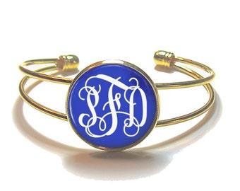 Royal Blue Monogram Cuff Bracelet Style 323
