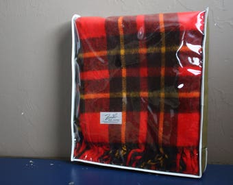 "Vintage Red and Yellow Plaid Wool ""Faribo Fluff-Loomed"" Throw Blanket With Clear Plastic Over / Handle Carry Case"