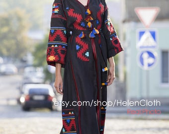 Embroidered Dress Mexican Style Embroidery Ukrainian Vyshyvanka Dress Free shipping