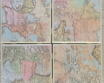 Tile Coaster Set of Four Map Pattern Coasters with Cork Backing