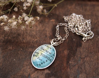 Sterling Silver Map Necklace with Location of your choice Engagement Gift Personalized Necklace Custom Map Jewellery Map Necklace