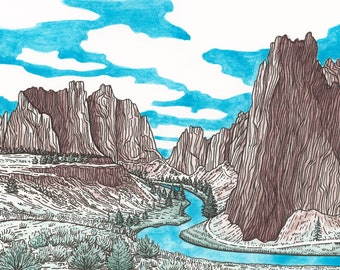 Smith Rock Original with 8x10 Mat - Watercolor Landscape Painting - Oregon Climbing Art