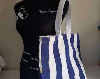Beach or city tote bag - canvas sailor dralon - capacity - breton and marine spirit - mothers ideal