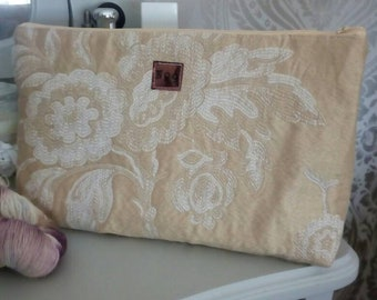 Embroidered silk project bag
