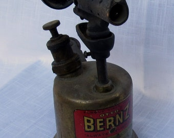 Otto Bernz co torch/vintage blow torch/plumbers torch/brass blow torch,small torch,antique torch,advertising industrial,solid brass torch