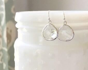MOLLY | Crystal Earrings | Silver + Crystal Bridesmaid Earrings | Crystal Dangle Earrings | Clear Crystal Teardrop Earrings Silver