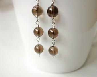 Minimalist stone earrings smoky quartz earrings silver earrings for women