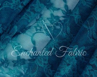 Stretch Lace | Bridal Lace | Vintage Lace | Floral Lace | Newborn Wraps | Stretch Lace Fabric | 1301 TEAL