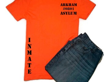 Orange Arkham Asylum Prison Inmate Tshirt, Batman, The Joker Tshirt, Geek Tshirt, Geek Gift Ideas, Fancy Dress, Cosplay Tshirt