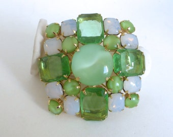 Vintage 1950's Gold Diamond/Square Peridot Green Glass Gems, Opal Art Glass and Green Moonglow Glass Statement Pin