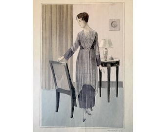 1919 ANTIQUE FRENCH FASHION lithograph - original antique print - fashion illustration design fashion designer - grey dress