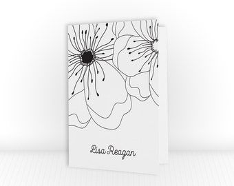 Personalized Folded Note Cards | Floral Stationary Cards | Floral Notecards | Flower Stationery Set | Flower Note Cards | PSFON_0003