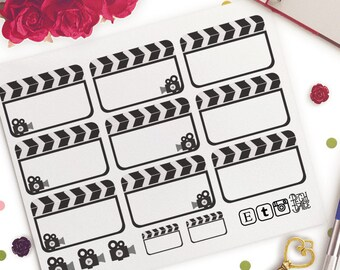 Recording Films Movies Vlog Reminders Functional Planner Stickers   Erin Condren Half Boxes   Kikki K   Filofax    Retro