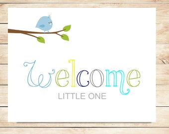 Printable New Baby Boy Welcome Card - Instant Download Card - Welcome Baby Boy Card