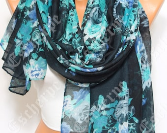 Black Blue Floral Scarf Women's Fashion Winter Accessories Christmas Gift For Her Gift Ideas Women Scarves Holiday Gift Ideas