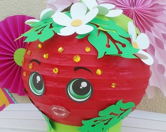 Shopkins centerpiece strawberry kiss paper lantern with flowers and leaves and sparkling rhinestones super adorable
