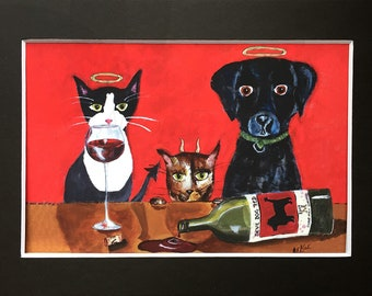 Angels and Devils - Funny Cat and Dog with Wine PRINT - Black Lab Art Print in 5x7 Black Mat - Gift for Cat Lover - Animal Decor