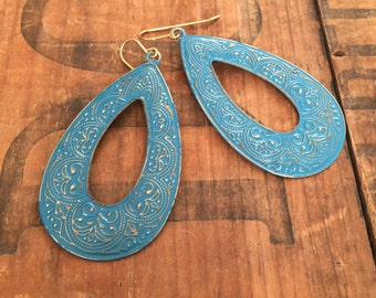 Turquoise Chandelier Earrings, Painted Rustic Metal, Tear Drop Chandelier, Lightweight Earrings, Big Earrings, Inexpensive, Sale
