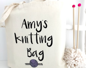 Personalised Knitting Bag | Knitting Project Bag | Craft Tote | Lined Knitting Bag | Knitting Gift | Large Roll Top Knitting Bag