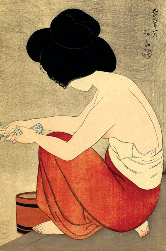 Japanese geishas and beautiful women After the bath Shinsui