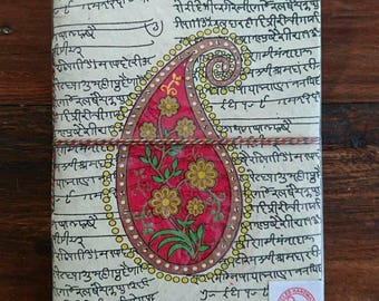 Indian notebook, travel journal, blank notebook, paisley, gifts for her