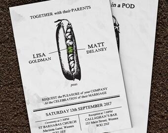 Two Peas In A Pod Wedding Invitations, Vintage Wedding Stationery Set