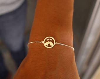 Flamingo Bracelet, Dainty Bracelet, Flemish Bracelet, Heart Bracelet, Bracelet for Women, Animal Bracelet, Minimalist Bracelet, Tiny