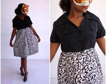 Vintage 60's Black & White Patterned Dress by Jane Justin   Medium
