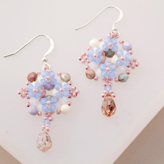 Victorian Lavender, Periwinkle & Cream Beaded Earrings