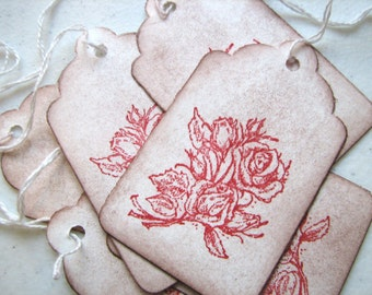 Red Rose Tags Set of 6