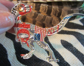 6 Jurassic DINOSAUR OOAK Ornaments of 6 UpCycled Dinosaurs T Rex, Raptor, Triceratops, BrontoSaurus, StegoSaurus HandMade 4 Dinosaur Lovers