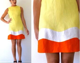 Vintage 60s Make Lemonade Yellow Linen Orange and White Striped Shift Dress (size xs, small)