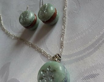 Set: Ice blue MACAROON necklace and earrings for Christmas