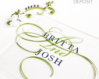 Custom Paper Quilling Embellished Wedding Invitation DEPOSIT ONLY, Personalized Wedding Gift, Wedding Keepsake, bridal shower gift