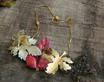 "Upcycled ""Fall Leaves"" Vintage Collage Necklace, Assemblage,Statement, OOAK, Repurposed"