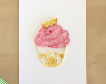 Quilling Paper Pink Lemonade Cupcake Home Decor, Pink Nursery Art, Cupcake Kitchen Art, Lemonade Decor, Baking Decoration