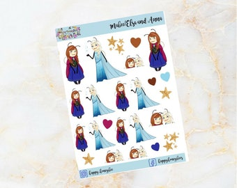 Mabee as ELSA and ANNA from FROZEN - Handdrawn disney stickers
