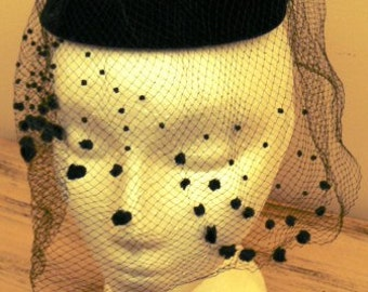 sale 20% off all vintage hats ... BLACK FULL VEIL Hat with netting Topped Pill Box so Pretty Vintage ...
