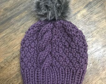 Hand knit cable beanie fur pompom
