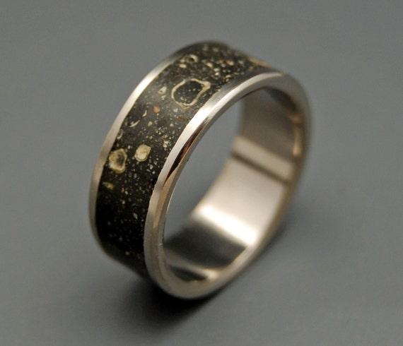 Black rings Titanium Concrete Wedding Ring Unique Wedding
