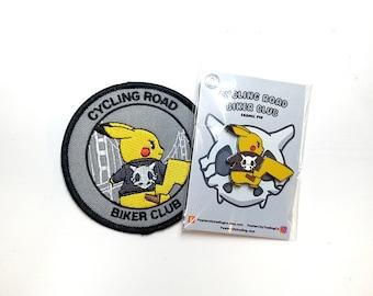 Cycling Road Biker Club Pokemon Inspired Iron-on Patch & Hard Enamel Pin Set | Pokemon Pin | Pokemon Patch