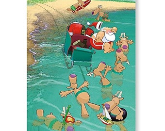 Cowabunga! Beach Christmas Card - 18 Cards & Envelopes - 30051