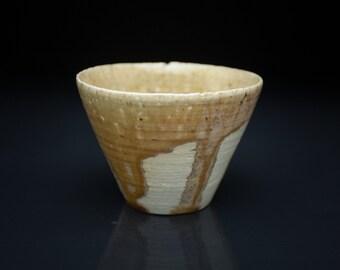 Simple shape porcelain tea bowl, one of a kind, wood-fired, ash glaze, yunomi, teabowl, tumbler