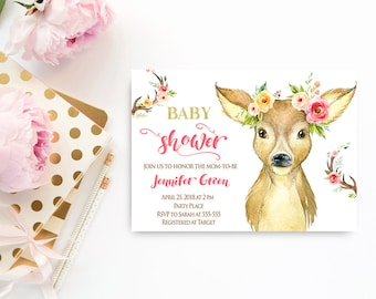 Deer Baby Shower Invitation, Woodland Baby Shower Invitation Girl Printable, Instant Download, Woodland Animals Baby Shower,  W1