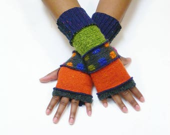 Fingerless Gloves,Armwarmers(Charcoal/Persimmon/Charcoal,Multi-color Pattern/Apple Green/Patched Purple,Navy)Brenda Abdullah